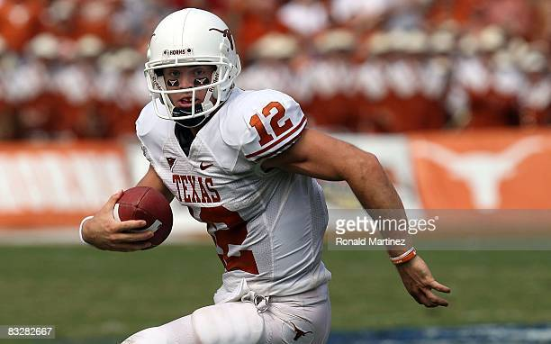 Quarterback Colt McCoy of the Texas Longhorns during play against the Oklahoma Sooners during the Red River Rivalry at the Cotton Bowl on October 11,...