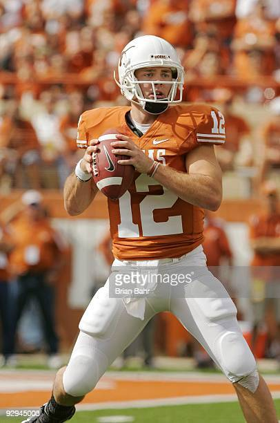 Quarterback Colt McCoy of the Texas Longhorns looks for his receiver against the UCF Knights on November 7, 2009 at Darrell K Royal - Texas Memorial...