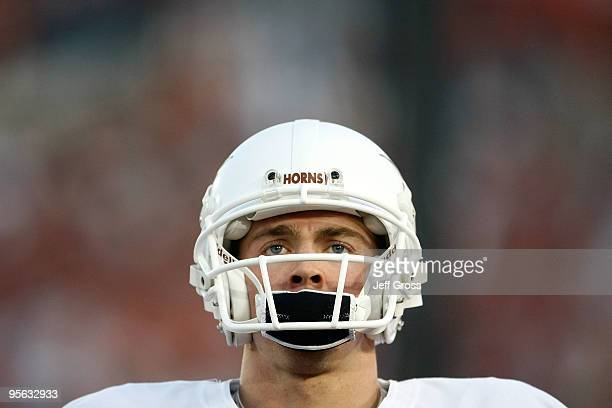 Quarterback Colt McCoy of the Texas Longhorns looks on before taking on the Alabama Crimson Tide in the Citi BCS National Championship game at the...