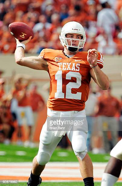 Quarterback Colt McCoy of the Texas Longhorns looks throws against the UCF Knights in the first quarter on November 7, 2009 at Darrell K Royal -...