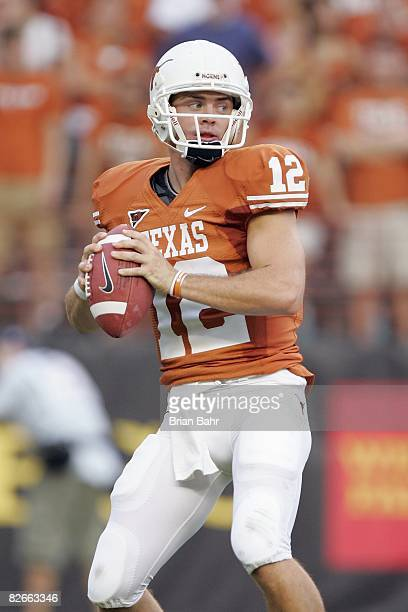 Quarterback Colt McCoy of the Texas Longhorns looks to pass the ball during the game against the Florida Atlantic Owls on August 30 2007 at Darrell K...