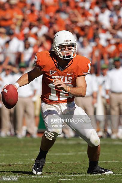 Quarterback Colt McCoy of the Texas Longhorns looks to pass the ball during the game against the Baylor Bears on November 8 2008 at Darrell K...