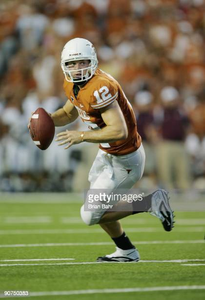 Quarterback Colt McCoy of the Texas Longhorns runs out of the pocket against the Louisiana Monroe Warhawks on September 5 2009 at Darrell K...