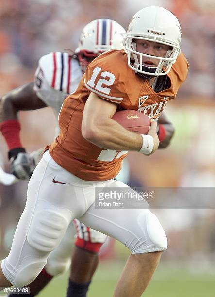 Quarterback Colt McCoy of the Texas Longhorns runs the ball during the game against the Florida Atlantic Owls on August 30 2007 at Darrell K...