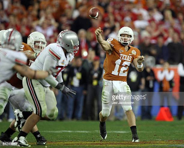 Quarterback Colt McCoy of the Texas Longhorns throws a pass against the Ohio State Buckeyes during the Tostitos Fiesta Bowl Game on January 5, 2009...