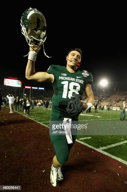 Quarterback Connor Cook of the Michigan State Spartans runs off the field after their 2420 win over the Stanford Cardinal in the 100th Rose Bowl Game...