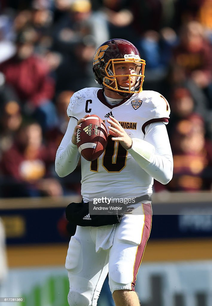 Quarterback Cooper Rush #10 of the Central Michigan Chippewas looks to pass against Toledo Rockets at Glass Bowl on October 22, 2016 in Toledo, Ohio.