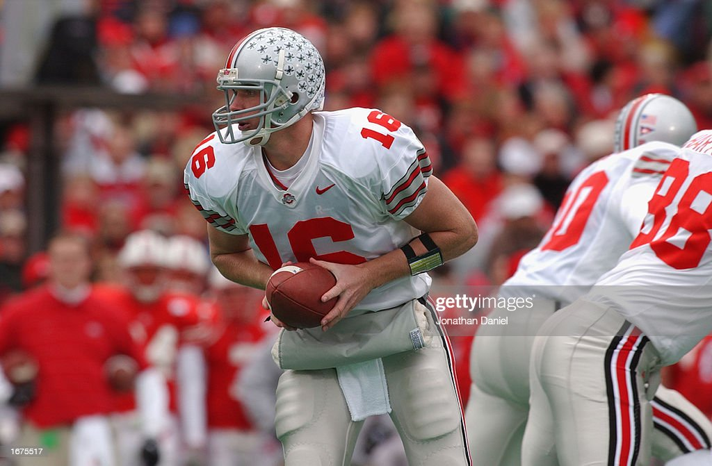 Quarterback Craig Krenzel #16 of the Ohio State Buckeyes drops back with the ball during the Big Ten Conference football game against the Wisconsin Badgers at Camp Randall Stadium on October 19, 2002 in Madison, Wisconsin. The Buckeyes won 19-14.
