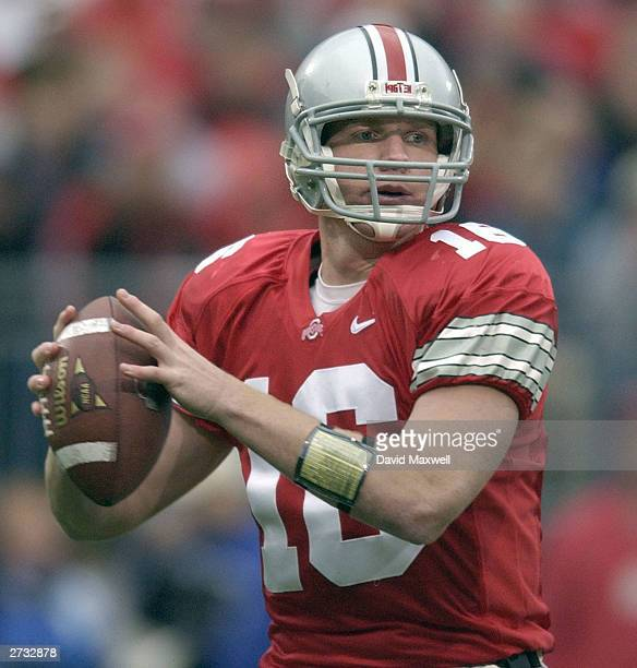 Quarterback Craig Krenzel of the Ohio State Buckeyes looks to throw a pass against the Purdue Boilermakers on November 15 2003 at Ohio Stadium in...