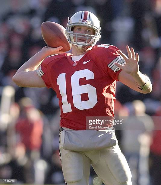 Quarterback Craig Krenzel of the Ohio State Buckeyes throws a pass against the Michigan State Spartans during the third quarter on November 8 2003 at...