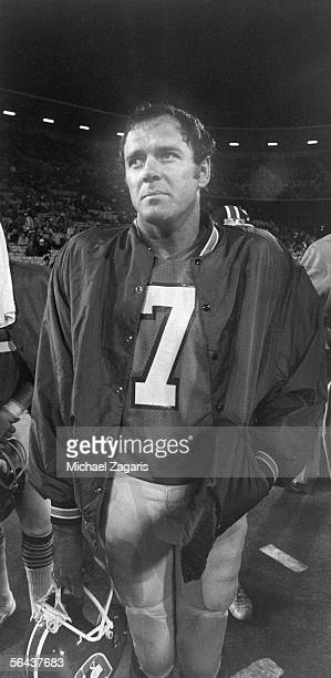 Quarterback Craig Morton of the Denver Broncos looks on during a preseason game against the San Francisco 49ers at Candlestick Park on September 10...