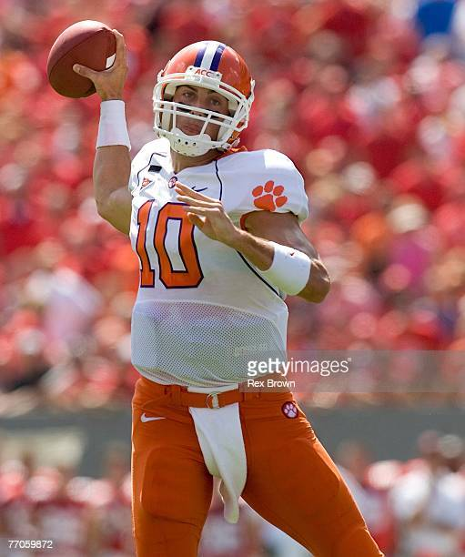 Quarterback Cullen Harper of the Clemson Tigers drops back to pass against the NC State Wolfpack at Carter Finley Stadium on September 22, 2007 in...