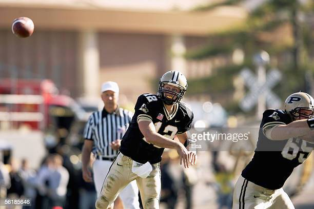 Quarterback Curtis Painter of the Purdue Boilermakers passes against the Illinois Fighting Illini at RossAde Stadium on November 12 2005 in West...