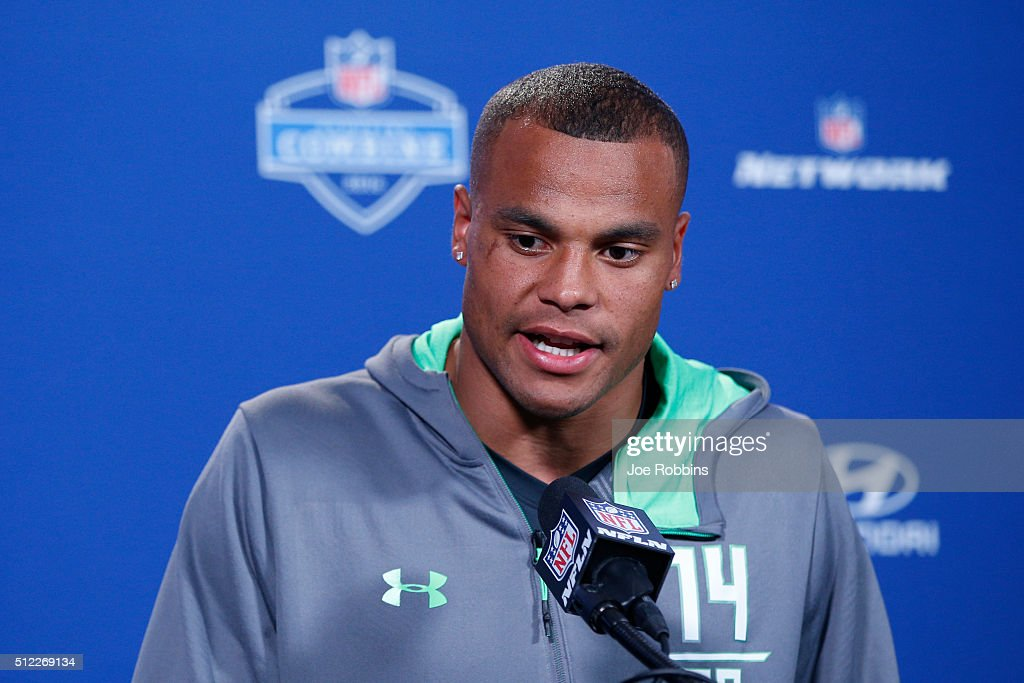 Quarterback Dak Prescott #14 of Mississippi State speaks to the media during the 2016 NFL Scouting Combine at Lucas Oil Stadium on February 25, 2016 in Indianapolis, Indiana.