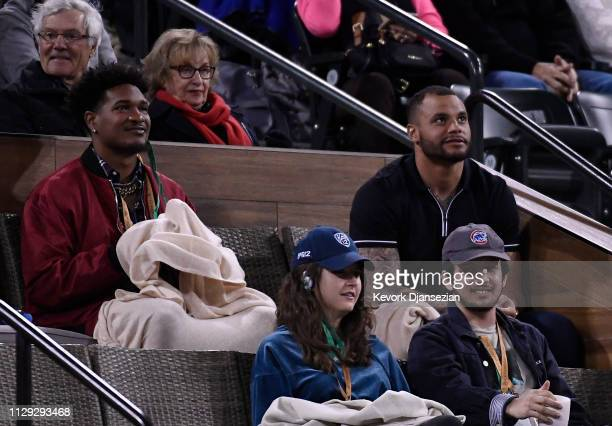Quarterback Dak Prescott of the Dallas Cowboys attends the Serena Williams of the United States and Victoria Azarenka of Belarus womens singles...