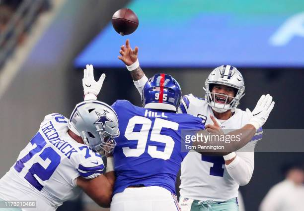 Quarterback Dak Prescott of the Dallas Cowboys passes the ball during the game against New York Giants at ATT Stadium on September 08 2019 in...