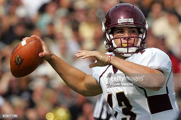 Quarterback Dan LeFevour of the Central Michigan Chippewas drops back to pass against the Purdue Boilermakers at RossAde Stadium on September 20 2008...