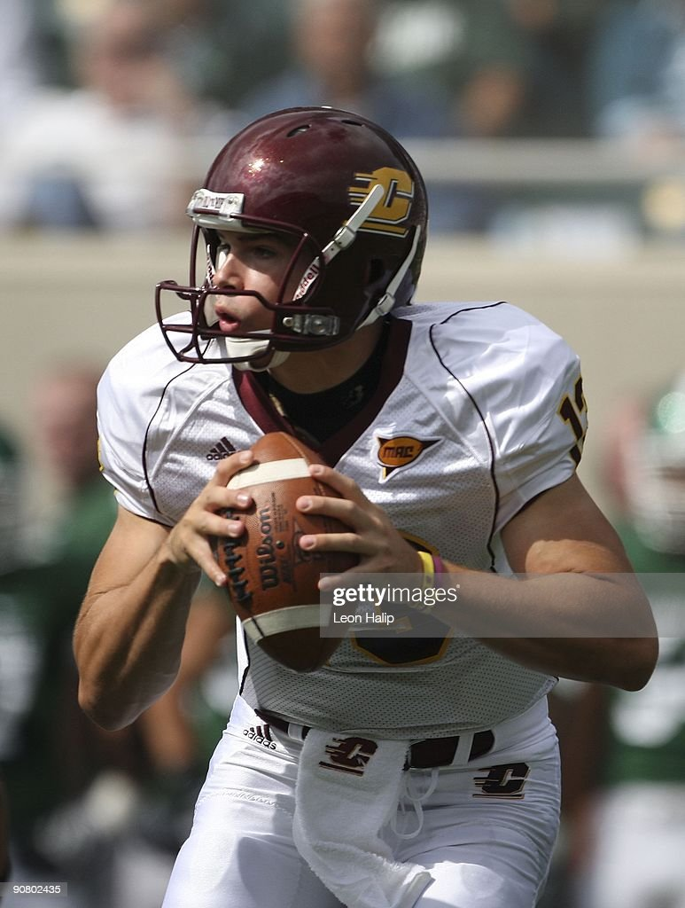 Quarterback Dan LeFevour #13 of the Central Michigan Chippewas drops back to pass in the first quarter against the Michigan State Spartans at Spartan Stadium on September 12, 2009 in East Lansing, Michigan. Central Michigan won the game 29-27. Photo by Leon Halip/Getty Images)