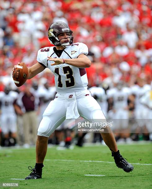 Quarterback Dan LeFevour of the Central Michigan Chippewas sets to pass against the Georgia Bulldogs at Sanford Stadium on September 6 2008 in Athens...