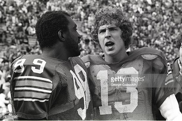 3f492d1a68f Quarterback Dan Marino and linebacker Hugh Green of the University of  Pittsburgh Panthers talk on the