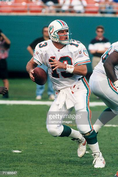 Quarterback Dan Marino, of the Miami Dolphins, drops back to pass during a game on December 3, 1995 against the Atlanta Falcons at Joe Robbie Stadium...