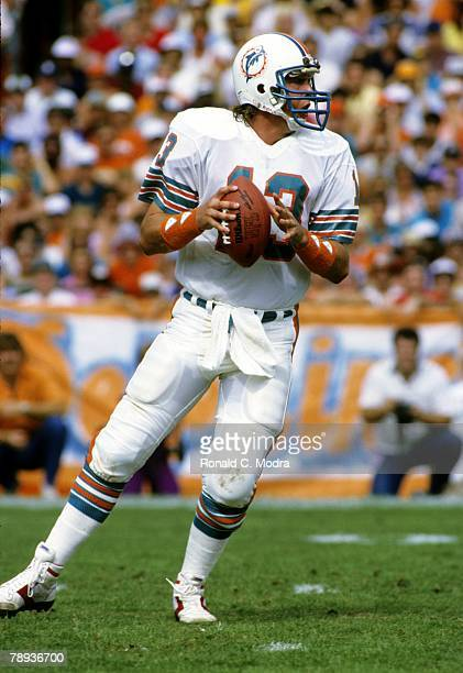 Quarterback Dan Marino of the Miami Dolphins goes back to pass during the AFC Divisional Playoff Game against the Seattle Seahawks on December 29...