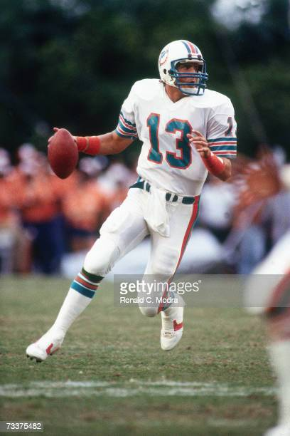 Quarterback Dan Marino of the Miami Dolphins goes back to pass against the Los Angeles Rams on October 30 1983 in Miami Florida