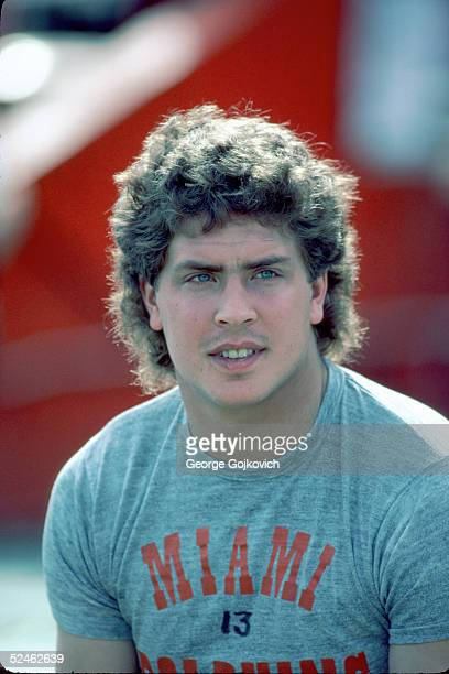 Quarterback Dan Marino of the Miami Dolphins on the field prior to a game at the Orange Bowl circa 1985 in Miami Florida