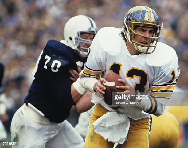 Quarterback Dan Marino of the University of Pittsburgh Panthers during a game against the Penn State Nittany Lions in November 1982 in University...
