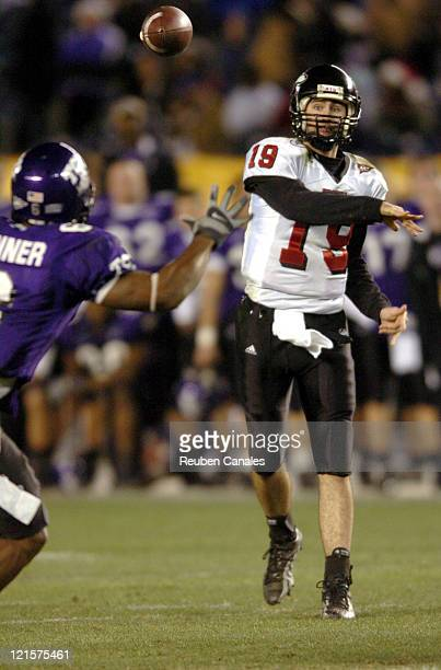 Quarterback Dan Nicholson of the NIU Huskies in a 37 to 7 loss to the TCU Horned Frogs in the San Diego County Credit Union Pointsettia Bowl on...