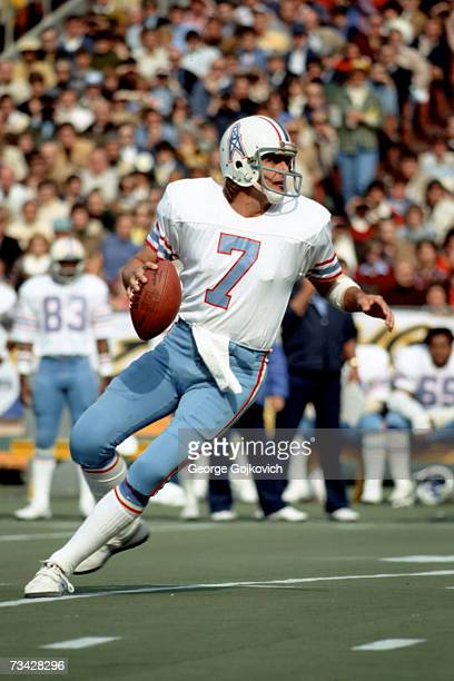 Quarterback Dan Pastorini of the Houston Oilers looks to pass against the Pittsburgh Steelers at Three Rivers Stadium on November 9 19975 in...