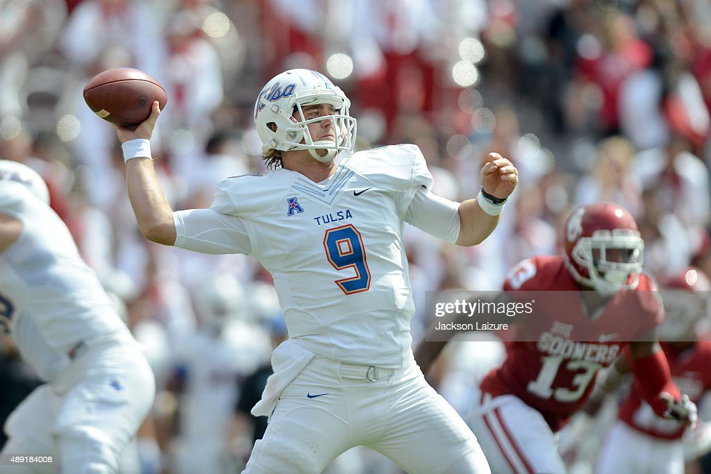 Quarterback Dane Evans #9 of the Tulsa Golden Hurricane throws a pass against the Oklahoma Sooners at Gaylord Family Memorial Stadium on September 19, 2015 in Norman, Oklahoma.