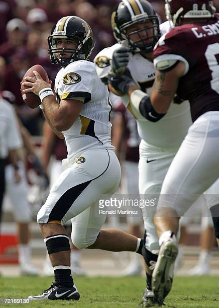 Quarterback Daniel Chase of the Missouri Tigers drops back to pass against the Texas AM Aggies at Kyle Field on October 14 2006 in College Station...