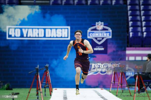 Quarterback Daniel Jones of Duke runs the 40yard dash during day three of the NFL Combine at Lucas Oil Stadium on March 2 2019 in Indianapolis Indiana