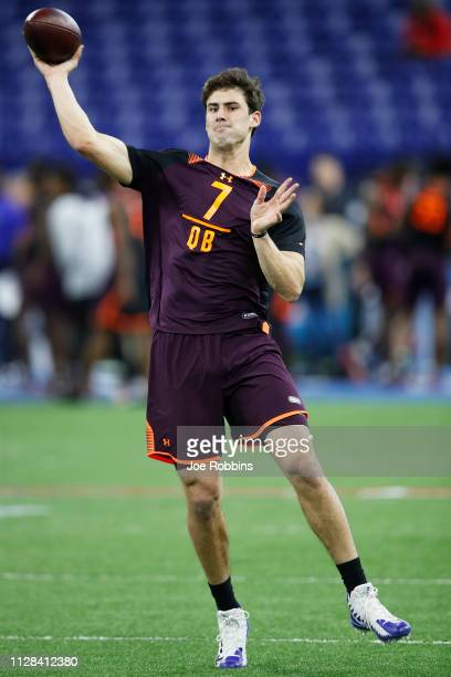 Quarterback Daniel Jones of Duke works out during day three of the NFL Combine at Lucas Oil Stadium on March 2 2019 in Indianapolis Indiana