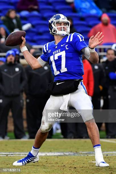 Quarterback Daniel Jones of the Duke Blue Devils drops back to pass against the Wake Forest Demon Deacons during their football game at Wallace Wade...
