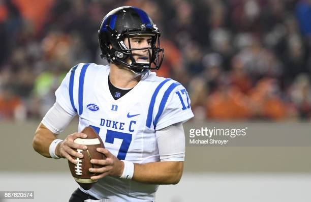 Quarterback Daniel Jones of the Duke Blue Devils looks to throw against the Virginia Tech Hokies in the first half at Lane Stadium on October 28 2017...