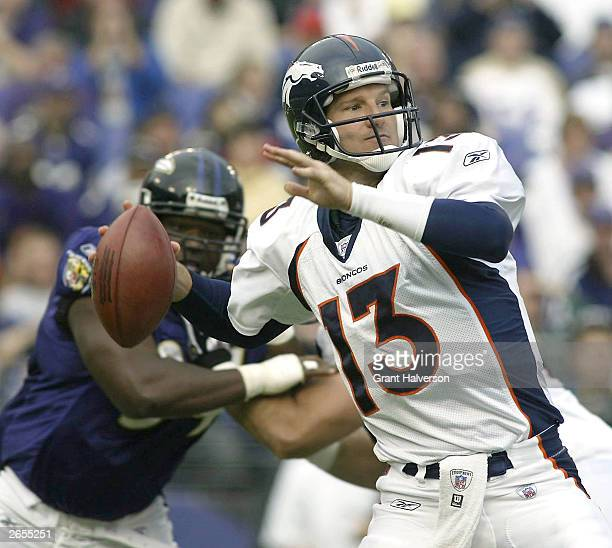 Quarterback Danny Kanell of the Denver Broncos drops back to pass against the Baltimore Ravens during the first half on October 26 2003 at MT Bank...