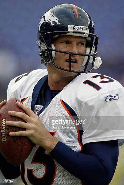 Quarterback Danny Kanell of the Denver Broncos drops back to pass against the Baltimore Ravens during the NFL game at MT Bank Stadium on October 26...
