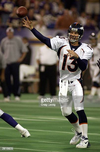 Quarterback Danny Kanell of the Denver Broncos replaced quarterback Steve Beuerlein after Beuerlein left the game with an injury against the...