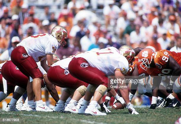 Quarterback Danny Kanell of the Florida State Seminoles looks to take the snap during an NCAA game against the Clemson Tigers on September 9 1995 at...
