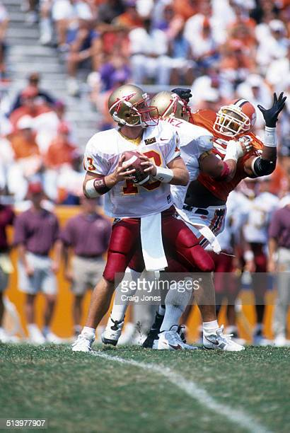 Quarterback Danny Kanell of the Florida State Seminoles readies to throw the ball during an NCAA game against the Clemson Tigers on September 9 1995...