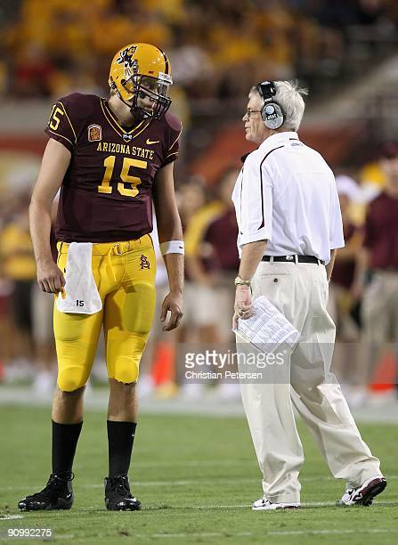 Quarterback Danny Sullivan talks with head coach Dennis Erickson of the Arizona State Sun Devils during the college football game against the...