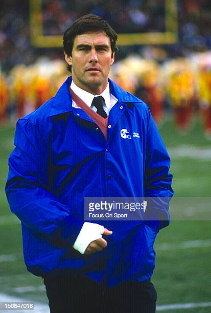 Quarterback Danny White of the Dallas Cowboys looks on from the sidelines during an NFL football game circa 1985 White played for the Cowboys from...