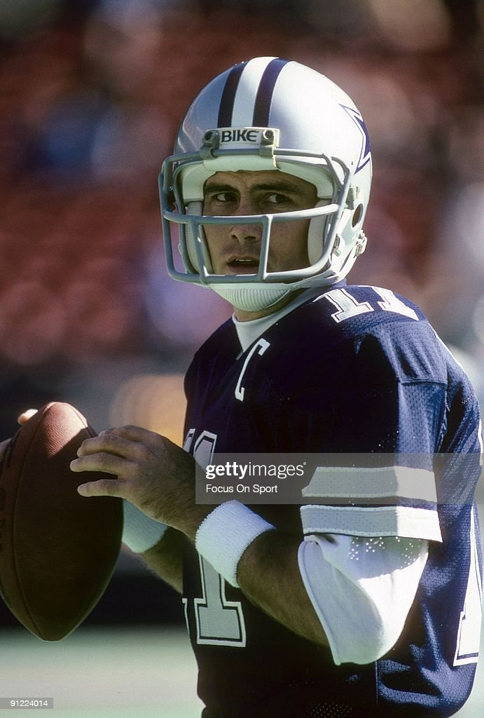 267f389160c Quarterback Danny White of the Dallas Cowboys warms up before an NFL ...