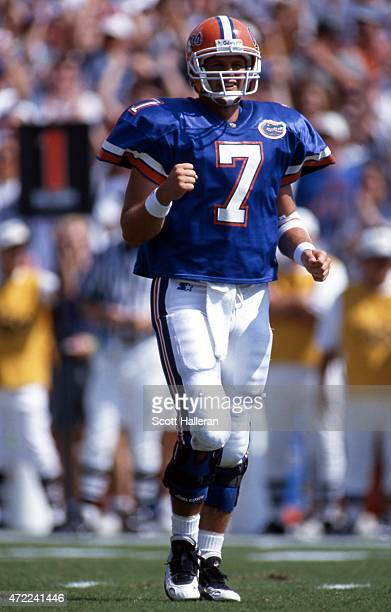 Quarterback Danny Wuerffel of the Florida Gators celebrates during an NCAA game against the LSU Tigers on October 12, 1996 at Ben Hill Griffin...