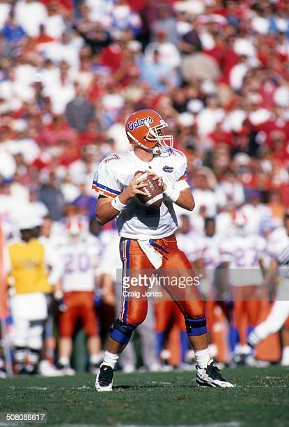 Quarterback Danny Wuerffel of the Florida Gators looks to pass during a game against the Georgia Bulldogs on October 28, 1995 at Sanford Stadium in...