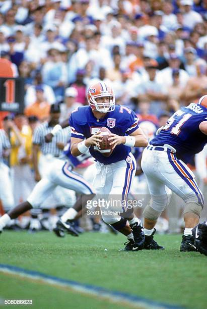 Quarterback Danny Wuerffel of the Florida Gators looks to pass during a game against the Auburn Tigers on October 15 1994 at Ben Hill Griffin Stadium...