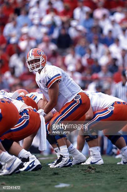 Quarterback Danny Wuerffel of the Florida Gators looks to take the snap during an NCAA game against the Arkansas Razorbacks on October 5, 1996 at...