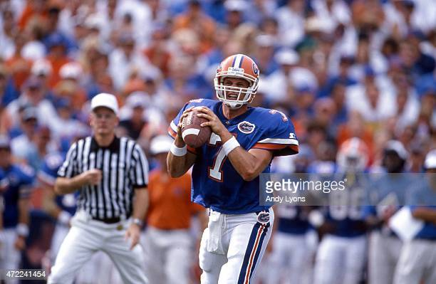 Quarterback Danny Wuerffel of the Florida Gators looks to throw the ball during an NCAA game against the Kentucky Wildcats on September 28 1996 at...